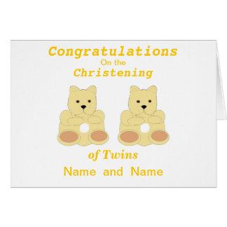 Les jumeaux de baptême de félicitations ajoutent cartes