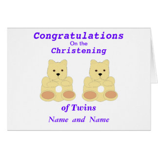 Les jumeaux de baptême de félicitations ajoutent d