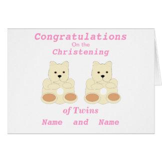 Les jumeaux de baptême de félicitations ajoutent l cartes de vœux