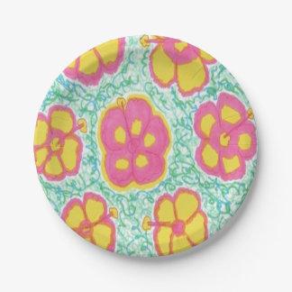 Les ketmies roses et vertes impriment les plaques assiettes en papier
