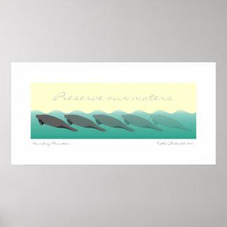 Les lamantins de disparaition - préservez nos eaux poster