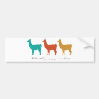 Les lamas colorent mon monde avec joie autocollant pour voiture