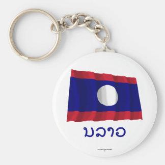 Les Laotiens ondulant le drapeau avec le nom dans Porte-clé
