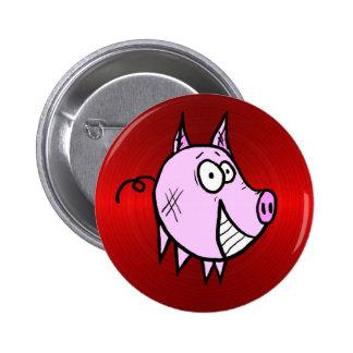 Les le bouton rouge de porc pin's avec agrafe