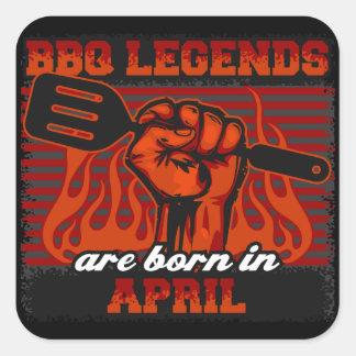 Les légendes de BBQ sont nées en avril Sticker Carré