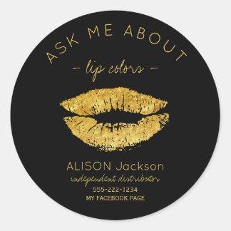 Les lèvres de scintillement d'or impriment le noir sticker rond