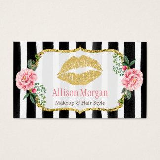 Les lèvres d'or de maquilleur rougissent les cartes de visite
