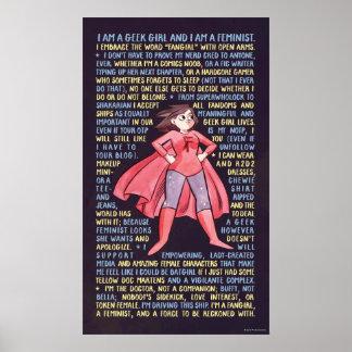 Les litanies de la fille de geek pour le féminisme affiche