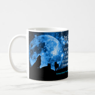 Les loups hurlent à la pleine lune, avec des mug