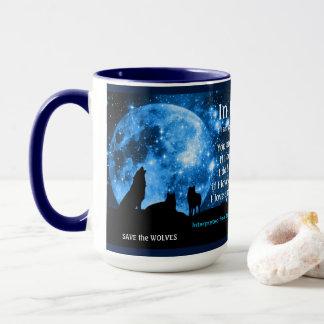 Les loups hurlent à la pleine lune, avec des tasses