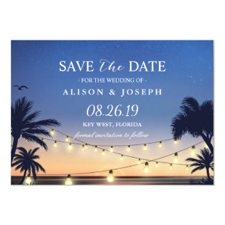 Les lumières de ficelle de coucher du soleil de carton d'invitation  12,7 cm x 17,78 cm
