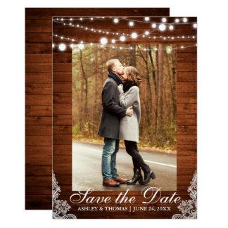 Les lumières en bois de dentelle de mariage carton d'invitation  12,7 cm x 17,78 cm