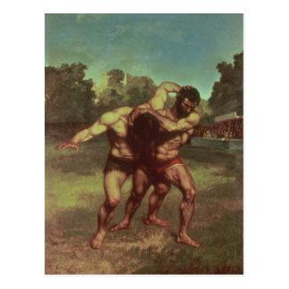 Les lutteurs, 1853 carte postale