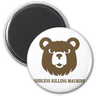 les machines athée de massacre d'ours câlinent le  magnet rond 8 cm