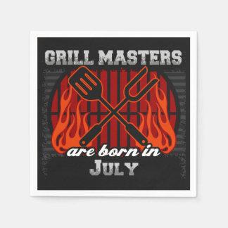 Les maîtres de gril sont en juillet anniversaire serviette en papier