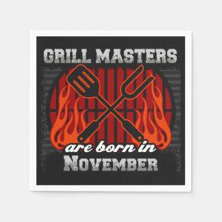 Les maîtres de gril sont en novembre anniversaire serviette jetable
