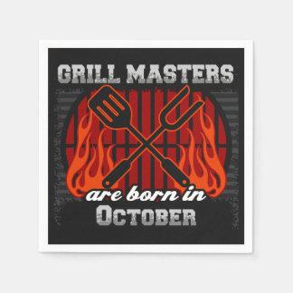 Les maîtres de gril sont en octobre anniversaire serviettes en papier
