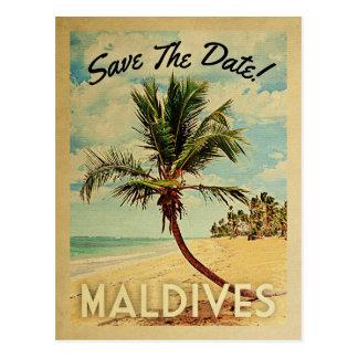 Les Maldives sauvent le palmier vintage de plage Carte Postale
