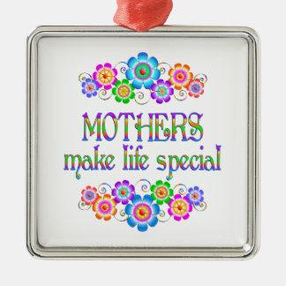 Les mères font le Special de la vie Ornement Carré Argenté