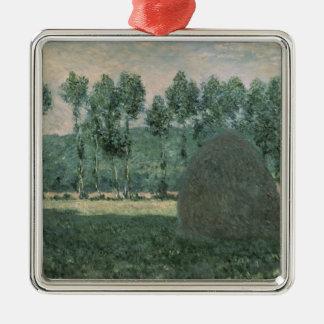 Les meules de foin de Claude Monet | s'approchent Ornement Carré Argenté