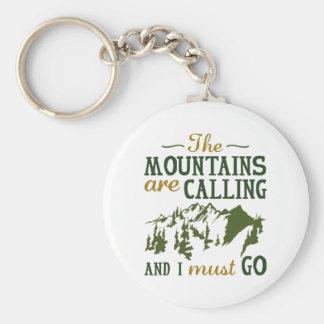 Les montagnes appellent porte-clé rond