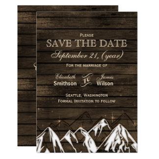 Les montagnes rustiques de camping en bois de carton d'invitation  12,7 cm x 17,78 cm