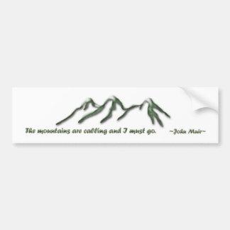 Les montagnes sont appeler/les mtns inclinés par autocollant de voiture