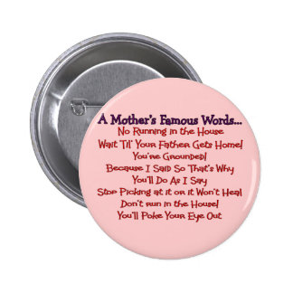 Les mots célèbres de la mère--Cadeaux du jour de m Badges Avec Agrafe