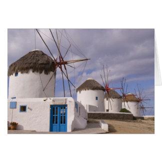 Les moulins à vent de Mykonos sur les îles Carte De Vœux