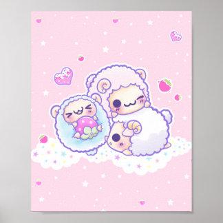 Les moutons mignons de sucrerie de coton poster