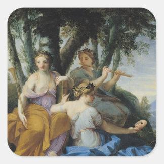 Les Muses, Clio, euterpe et Thalia, c.1652-55 Sticker Carré