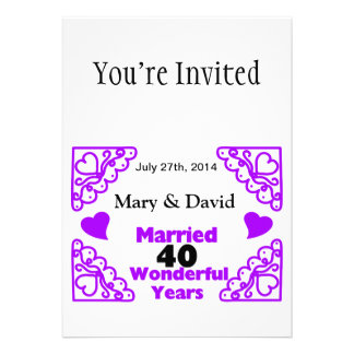 Les noms de remous de Purple Heart et datent Cartons D'invitation