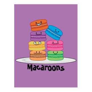 Les nourritures heureuses de macarons de macaron carte postale