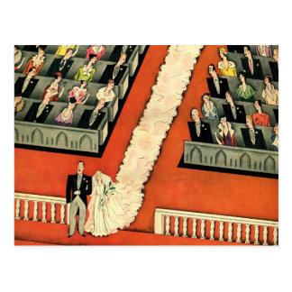 Les nouveaux mariés vintages d'art déco de mariage carte postale