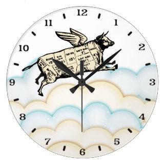 Les nuages pilotant la vache s'envole l'horloge de grande horloge ronde