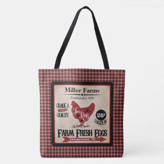 Les oeufs frais de ferme ont personnalisé sac
