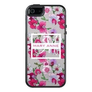 Les orchidées roses en fleur | ajoutent votre nom coque OtterBox iPhone 5, 5s et SE