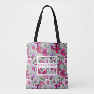 Les orchidées roses en fleur | ajoutent votre nom sac