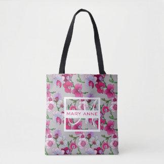 Les orchidées roses en fleur | ajoutent votre nom tote bag