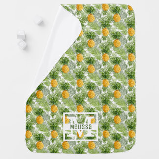 Les palmettes et les ananas tropicaux   ajoutent couvertures pour bébé