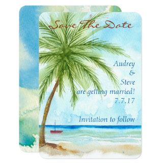 Les palmiers sauvent la carte de date carton d'invitation 8,89 cm x 12,70 cm