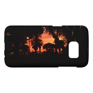 Les palmiers silhouettent au coucher du soleil coque samsung galaxy s7