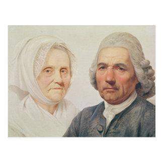 Les parents de l'artiste (huile sur la toile) carte postale