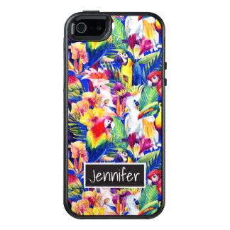 Les perroquets d'aquarelle | ajoutent votre nom coque OtterBox iPhone 5, 5s et SE