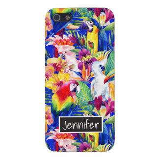 Les perroquets d'aquarelle | ajoutent votre nom étui iPhone 5