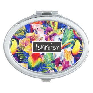 Les perroquets d'aquarelle | ajoutent votre nom miroir compact