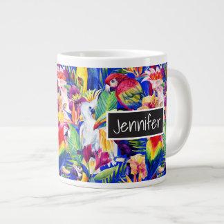 Les perroquets d'aquarelle | ajoutent votre nom mug