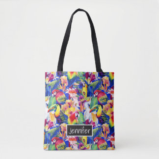 Les perroquets d'aquarelle | ajoutent votre nom sac