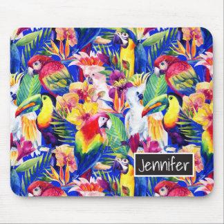 Les perroquets d'aquarelle | ajoutent votre nom tapis de souris