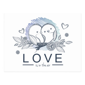 Les perruches sauvent le mariage pourpre de date carte postale